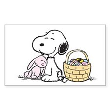 Beagle and Bunny Sticker (Rectangle)
