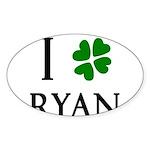 """""""I Heart/Luck Ryan"""" Sticker (Oval 10 pk)"""