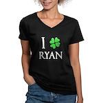 """""""I Heart/Luck Ryan"""" Women's V-Neck Dark T-Shirt"""