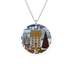 Christmas Cottage Necklace Circle Charm