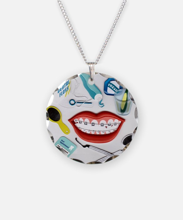 Dentist Jelly Beans Necklace Circle Charm