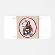 Woman Writer Aluminum License Plate