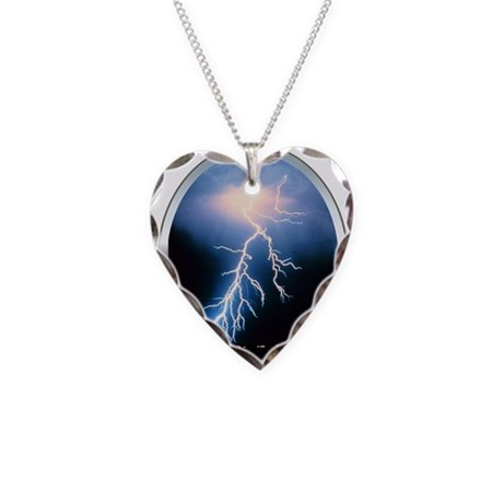 Blue Lightning Necklace Heart Charm