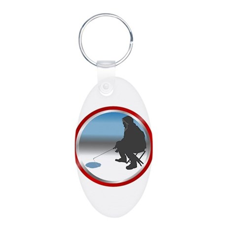 Ice Fishing Aluminum Oval Keychain