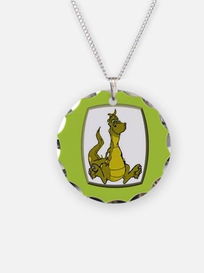 Kid's Dragon 2 Necklace Circle Charm