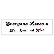 Loves New Zealand Girl Bumper Bumper Sticker