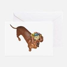 Tiger Dachshunds Dogs Nest Eggs Hat Greeting Cards