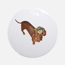 Tiger Dachshunds Dogs Nest Eggs Hat Ornament (Roun