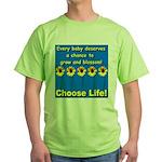 Choose Life Five Flowers Natu Green T-Shirt