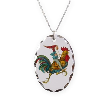 Vintage GNOME Necklace Oval Charm