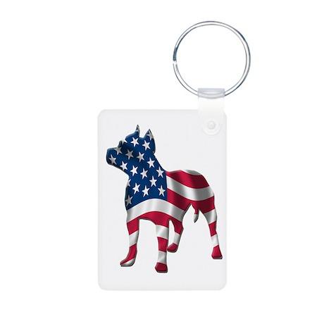 Patriotic Pit Bull Design Aluminum Photo Keychain