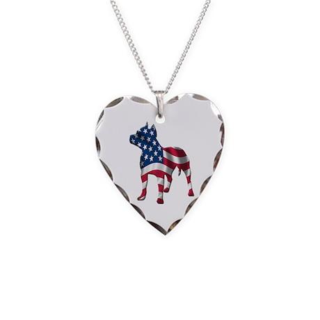 Patriotic Pit Bull Design Necklace Heart Charm