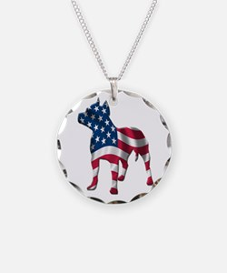 Patriotic Pit Bull Design Necklace