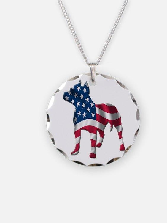 Patriotic Pit Bull Design Necklace