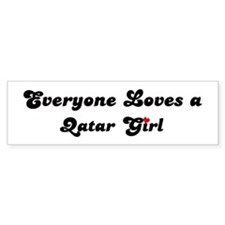 Loves Qatar Girl Bumper Bumper Sticker