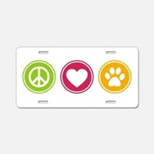 Peace - Love - Dogs Aluminum License Plate