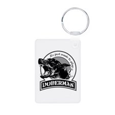 Doberman white Aluminum Photo Keychain