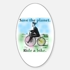 Save the Planet Ride a Bike Oval Decal