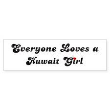 Loves Kuwait Girl Bumper Bumper Sticker