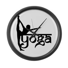 Yoga Standing Bow Pulling Pos Large Wall Clock