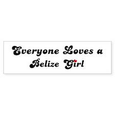 Loves Belize Girl Bumper Bumper Sticker