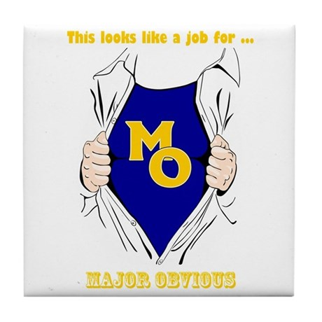 Major Obvious_ gold Lettering Tile Coaster