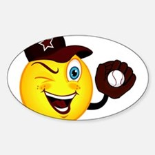 SMILEY {2} softball -crimson- Sticker (Oval)