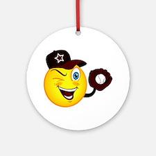 SMILEY {2} softball -crimson- Ornament (Round)