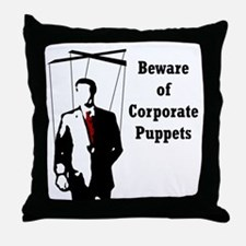 Corporate Puppet Throw Pillow