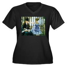 The Railroad Women's Plus Size V-Neck Dark T-Shirt