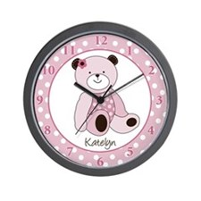 Sugar Cookie Teddy Bear Wall Clock - Pink