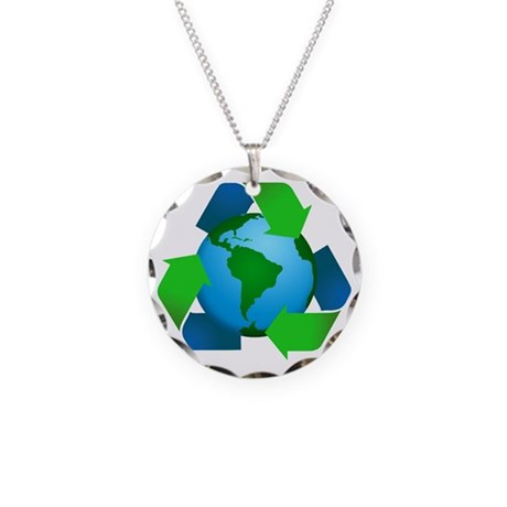 Recycle / Earth Necklace Circle Charm