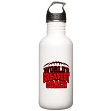 Red World's Greatest Coach Football Water Bottle