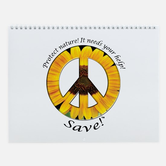 Wall Calendar Peace Sunflower