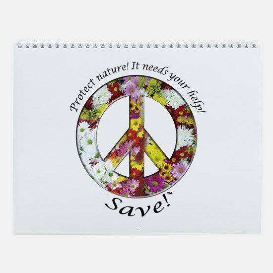 Wall Calendar Peace Flowers