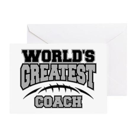 Grey World's Greatest Coach Football Greeting Card