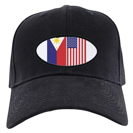 Philippine and US Flags Black Cap