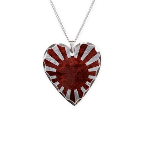 Japanese Rising Sun Flag Necklace Heart Charm