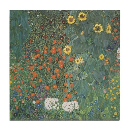 Country Garden with Sunflower Tile Coaster