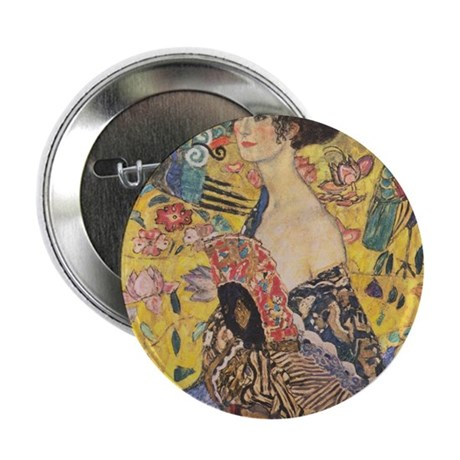 "Woman with Fan 2.25"" Button (100 pack)"