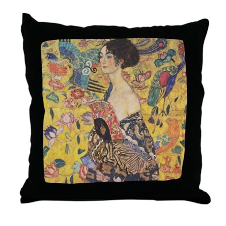 Woman with Fan Throw Pillow