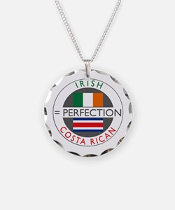 Irish Costa Rican flags Necklace Circle Charm