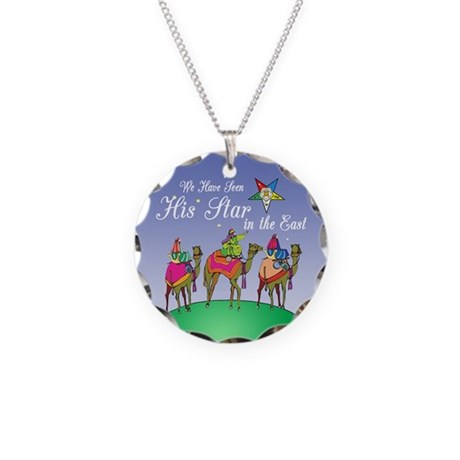 Eastern Star Christmas Necklace Circle Charm