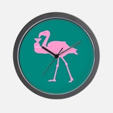 Pink Flamingo on Teal with a Martini Wall Clock