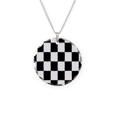 Checkered Flag Necklace Circle Charm