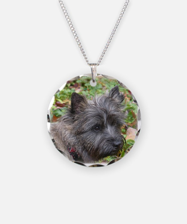 Young Cairn Terrier Necklace Circle Charm
