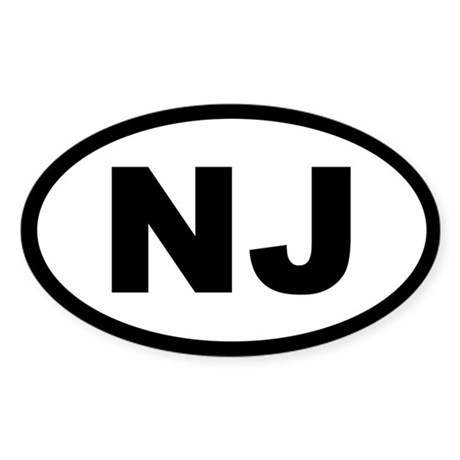 NEW JERSEY STATE OVAL STICKERS Oval Sticker