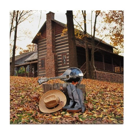 Mandolin and Cabin in the Woods Tile Coaster