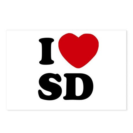 I Heart SD San Diego Postcards (Package of 8)