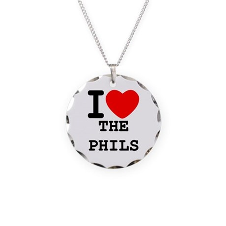 I Heart The Phils Necklace Circle Charm